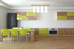 Green kitchen design-3d rendering Stock Image