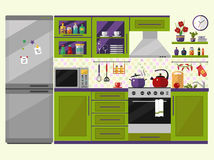 Green kitchen interior with utensils, food and devices. Including fridge, oven, microwave, kettle, pot. Flat style icons and illustration Royalty Free Stock Photo