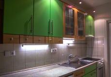 Green kitchen stock image