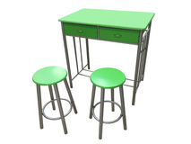 Green kitchen table with stools isolated on white background Royalty Free Stock Photo