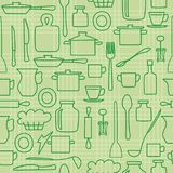 Green kitchenware on light background - vector seamless pattern Stock Images