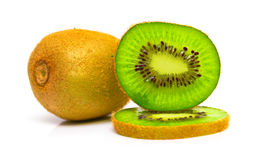 Green kiwi against the white background Stock Image