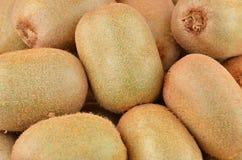 Green kiwi fruit Actinidia deliciosa. Close up shot Stock Photos