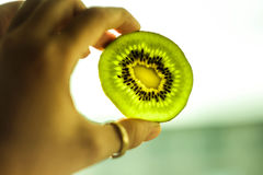 Green kiwi fruit Stock Images