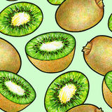 Green kiwi fruit isolated on green background. Kiwi doodle drawing. Seamless pattern.  Stock Image