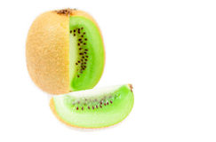 Green kiwi fruit slices isolated Stock Images