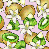 Green kiwi fruit and white flowers  on pink background. Kiwi animation doodle drawing hand work. Seamless pattern for desi Royalty Free Stock Photo