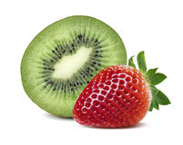 Green kiwi half red strawberry composition isolated on white Stock Photo