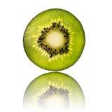 Green kiwi slice isolated on white background back lighted Stock Photography