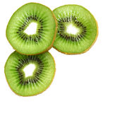 Green kiwi slices isolated on white as background Stock Photos
