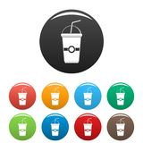Green kiwi smoothie icons set color. Green kiwi smoothie icons set 9 color vector isolated on white for any design vector illustration