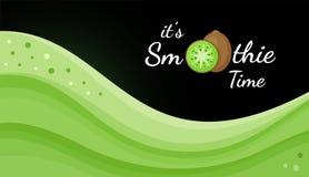 Green kiwi smoothie logo vitamin shake banner. Green kiwi smoothie vitamin drink vector illustration. Vegetarian smoothies drink or frozen yogurt wavy splash stock illustration
