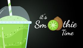 Green kiwi smoothie logo vitamin shake banner. Green kiwi smoothie vitamin drink vector illustration. Vegetarian smoothies drink with green layers in glass. Raw stock illustration