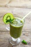 Green kiwi smoothie with mint Royalty Free Stock Photos