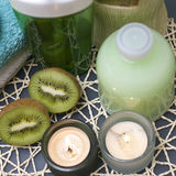 Green kiwi spa Stock Photo