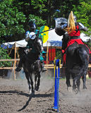 Green knight hits the red knight. Saturday July 23, 2011 Canterbury Renaissance Fayre held this year just off Mount Angel Highway in Silverton Oregon.  Here the Stock Images