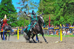 Green knight looses his mount Royalty Free Stock Images