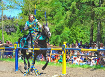 Green knight ring competition Stock Photography