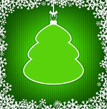 Green knitted background with empty frame as Christmas tree Stock Photography