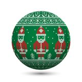 Green knitted christmas ball isolated on white background with Santa Claus and nordic ornament Royalty Free Stock Images