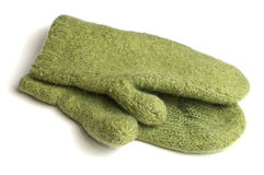 Green knitted mittens Royalty Free Stock Photography