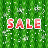 Green knitted pattern and sale Stock Photos