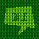 Green Knitted Sale Bubble. Vector illustration for your design Royalty Free Stock Photo
