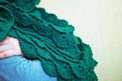 Green knitted shawl Royalty Free Stock Image