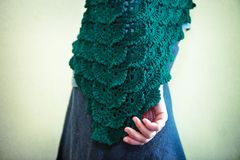 Green knitted shawl Stock Image