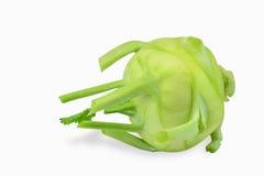 Green kohlrabi turnip isolated on white. Single cabbage of kohlrabi isolated on the white background stock photo
