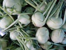 Green kohlrabi vegetable on a market Stock Images