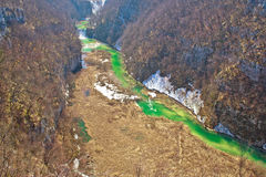 Green Korana river canyon aerial view Stock Images