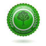 Green label. 100% natural green label isolated on white stock illustration