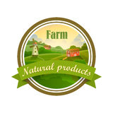 Green label of healthy natural farm fresh food Royalty Free Stock Images