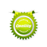 Green label with quality sign. Royalty Free Stock Photos