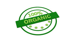 Green label stamp organic. 3d green label stamp 100% organic Stock Photos