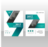 Green label triangle triangle annual report Leaflet Brochure Flyer template design, book cover layout design Royalty Free Stock Photos