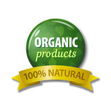 Green label with words `Organic Products - 100% Natural` Stock Image