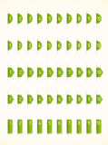 Green labels. With numbers, five sets Royalty Free Stock Image