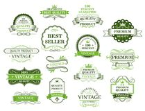 Green labels and banners Royalty Free Stock Images