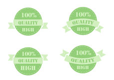 Green labels high quality. Set of green labels high quality isolated on white background. Vector illustration Royalty Free Stock Photography