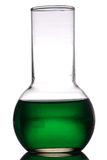 Green laboratory retort Stock Photo