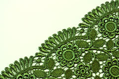 Green lace. On white background Stock Photos