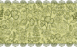 Green lace flowers horizontal seamless pattern Stock Photo