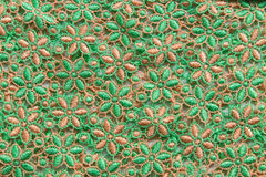 Green lace on white background. No any trademark or restrict matter in this photo.  Royalty Free Stock Images