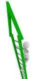 Green ladder of success. 3D render Stock Image