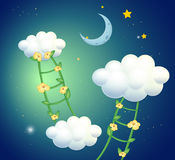 Green ladders with flowers going to the clouds Royalty Free Stock Images