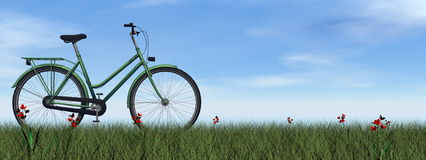 Green lady bicycle - 3D render. Green lady bicycle on the grass with flowers by day - 3D render royalty free illustration