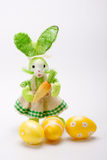 Green lady bunny with eggs Royalty Free Stock Photography
