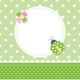 Green ladybug baby boy greeting card Stock Photography